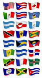 Americas country flying flags set Stock Images