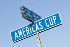 Americas Cup street sign in Newport, Rhode Island Stock Photo