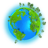 Americas, Europe and Africa on planet Earth. Americas, Europe and Africa on grassy planet Earth with trees  on white background Stock Image