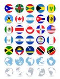 Americas flat round flags and globes. All elements are separated in editable layers clearly labeled Stock Photo