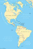 The Americas, North and South America, political map Stock Images