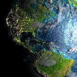 Americas on physical map in the morning. Americas on realistic physical map during twilight. 3D illustration with detailed planet surface. Elements of this image Stock Images