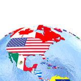 Americas on political globe with flags Royalty Free Stock Image
