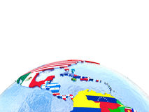 Americas on political globe with flags Stock Photography