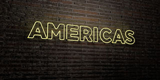AMERICAS -Realistic Neon Sign on Brick Wall background - 3D rendered royalty free stock image Stock Photo
