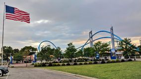 Americas Roller Coast Cedar Point Sandusky Ohio. Sun sets at the entry of the top American thrill seekers playground Stock Photography