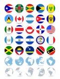 Americas sänker runda flaggor och jordklot Arkivfoto