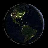 Americas from space at night Stock Photography