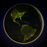 Americas from space at night Royalty Free Stock Photography