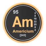 Americium Am chemical element. 3D rendering. Isolated on white background royalty free illustration