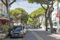Amerigo Vespucci Avenue à Rimini, Italie Photos stock