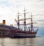 Amerigo Vespucci es una nave alta de la marina de guerra de Italia Fotografía de archivo