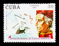 Amerigo Vespucci, International Stamp Exhibition - Genova '92 (s. MOSCOW, RUSSIA - NOVEMBER 25, 2017: A stamp printed in Cuba shows Amerigo Vespucci royalty free stock photo
