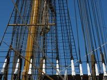Amerigo Vespucci sheets. Close up of  Amerigo Vespucci sheets, cords, and mast. This is a vessel of the Italian Navy built in 1930; it has three steel masts, 26 Royalty Free Stock Photography