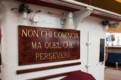 Amerigo Vespucci Ship Motto Images libres de droits