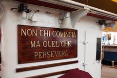 Amerigo Vespucci Ship Motto Royalty Free Stock Images