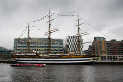 The Amerigo Vespucci sits in the Dublin harbor Royalty Free Stock Images