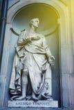 Amerigo Vespucci statue in Florence. Statue of Amerigo Vespucci the famous Italian explorer, financier, navigator and cartographer in Uffizi Gallery, Florence Royalty Free Stock Photography