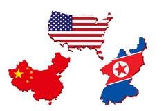 Amerika översikt, kinesisk översikt och Nordkorea översikt Arkivfoto
