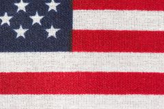 Amerika, amerikanska flaggan, stjärnor och band stänger sig upp Arkivfoton
