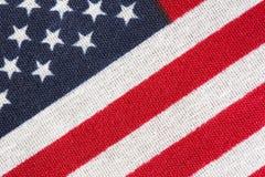Amerika, amerikanska flaggan, stjärnor och band stänger sig upp Fotografering för Bildbyråer
