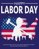 Amerika-Arbeitskraft-einfacher Schatten vektor abbildung