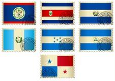 Amerika centrala flaggastämplar Arkivfoto