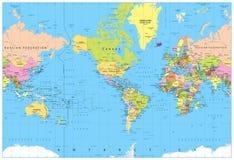 Amerika centreerde Politieke Wereldkaart Stock Fotografie