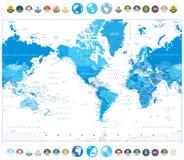 Amerika centrerade världskartablåttfärg och plana symboler för runda Arkivbild
