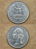 Amerika coins världen för dollarfjärdedelserien Arkivbilder
