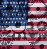 Amerika förser med kuggar hjul för ekonomi s u stock illustrationer