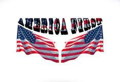 Amerika först och två USA-flaggor på en vit bakgrund royaltyfri foto