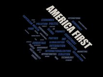 AMERIKA FÖRST - ordmolnwordcloud - uttryck från den globalisering-, ekonomi- och politikmiljön stock illustrationer