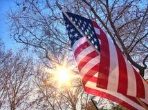Amerika flagga och sol Royaltyfria Foton
