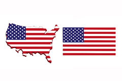 Amerika-Flaggenkarte Stockfoto