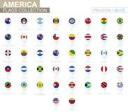 Amerika-Flaggensammlung Großer Satz der blauen Stiftikone mit Flaggen stock abbildung