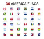 Amerika flaggor av landet flagga 36 rundade den fyrkantiga symbolsvektorn royaltyfri illustrationer