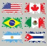 Amerika flaggor inställd färgstänk royaltyfri illustrationer