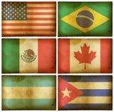 Amerika flaggor ställde in tappning stock illustrationer