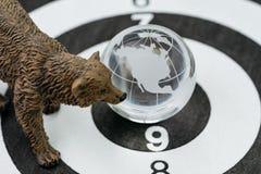 Amerika of het globale concept van de investeringsbaissemarkt, draagt figuur st Stock Foto's