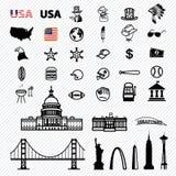Amerika-Ikonen eingestellt Lizenzfreie Stockbilder