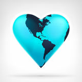 Amerika jordjordklot som formas som hjärta på den moderna grafiska designen Royaltyfria Bilder