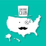 Amerika-Karte Karikatur des Spaßschnurrbartclubs flache Stockfotos