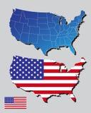 Amerika-Karten und Markierungsfahne Stockfotos