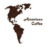 Amerika kontinent som göras från kaffebönor Amerikansk kaffebokstäver vektor illustrationer