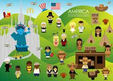 Amerika land av amerikanska drömmen med folk stock illustrationer