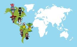 Amerika-Leutekarikaturen, Weltkarteverschiedenartigkeit illus Stockfotografie