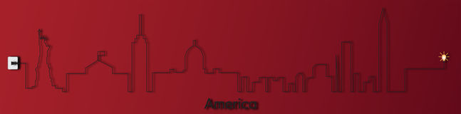 Amerika mit Sockel, Strom, Illustration Stockfotos