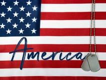 Amerika namn på flagga med hundetiketter Arkivfoton