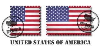 Amerika- oder FlaggemusterBriefmarke mit alter Kratzerbeschaffenheit des Schmutzes und fügen eine Dichtung auf lokalisiertem Hint Vektor Abbildung